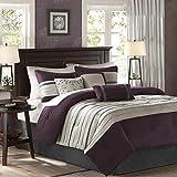 Madison Park - Palmer 7 Piece Comforter Set - Plum - Queen - Pieced Microsuede - Includes 1 Comforter, 3 Decorative Pillows, 1 Bed Skirt, 2 Shams