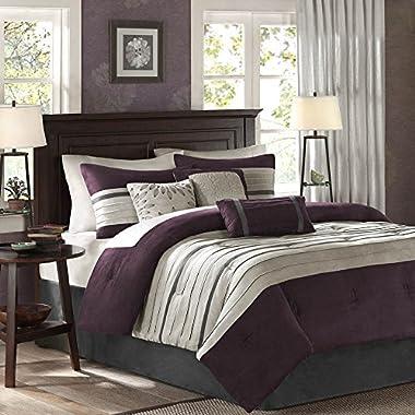 Madison Park Palmer Comforter Set, King, Plum