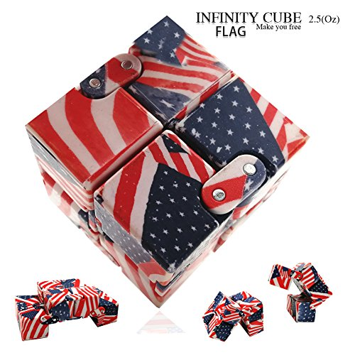 LIHJO New Fashion Interstellar Infinity Cube Fidget Cube Anti Stress Adults Kids Gift EDC for ADHD Funny Finger Toys 2.5(OU)Flag