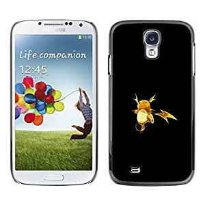 KLONGSHOP // Cubierta de piel con cierre a presión Shell trasero duro de goma Protección Caso - P1Kachu P0kemon - Samsung Galaxy S4 //