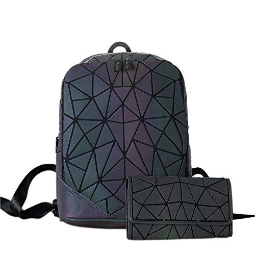 HotOne Geometric Backpack Holographic Reflective Backpacks Fashion Backpack (NO.3 Crack Backpack + Flap Wallet)