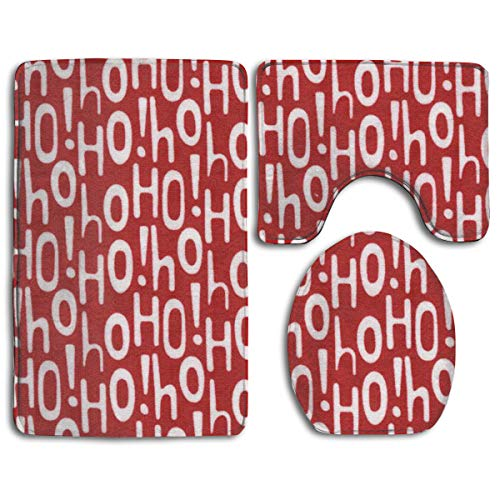 HDISJHF Holiday Ho Red 3-Piece Super Memory Foam Non-Slip Bath Mat Rug -