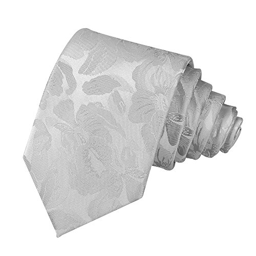 Men Silver Grey Silk Cravat Ties Tuxedo Narrow Width Gifts Work Neck Tie for Him