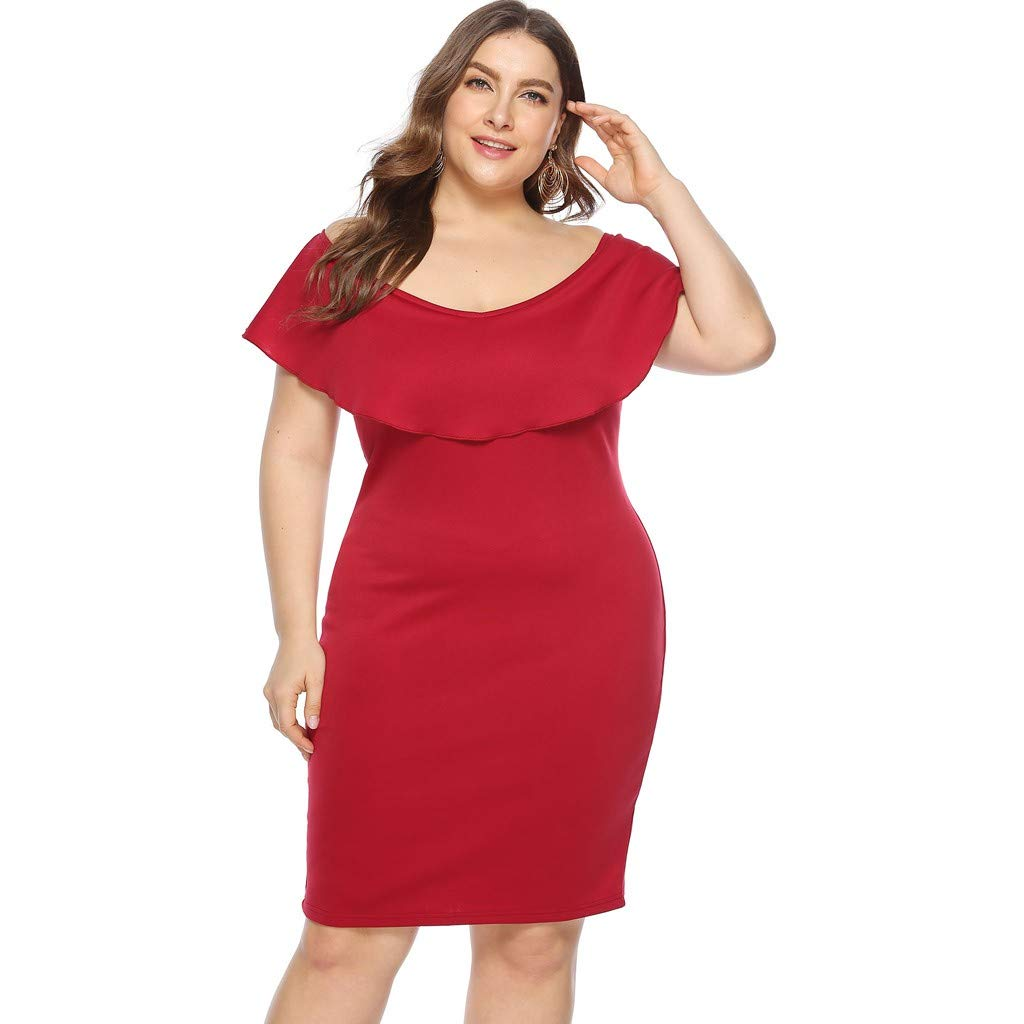 ZOMUSAR 2019 Women Plus Size Sexy Cold Shoulder Dress Solid Ruffle Pleated Mini Dress Red by ZOMUSAR (Image #2)