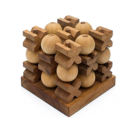 Mini 3D Tic-Tac-Toe: Handmade & Organic 3D Brain Teaser Wooden Puzzle Adults from SiamMandalay SM Gift Box(Pictured) ()