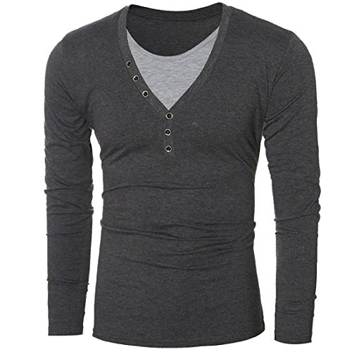 Edna Ho casual Mens V Neck False Two Pieces Long Sleeve Slim Fit T Shirts GreyUS X-Small-(China (Morph Suit Price)