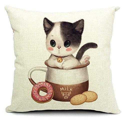 MAYUAN520 Cojines El Gatito En La Leche Cookie Jars Cat Almohadas Almohada Emoji Euro para La Decoración del Hogar Medio Ambiente Potencian Regalo Mascotas Decoraciones HD