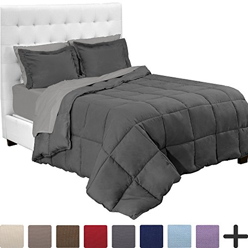 Bare Home 5-Piece Bed-In-A-Bag - Twin XL Extra Long (Comforter Set: Grey, Sheet Set: Light Grey)