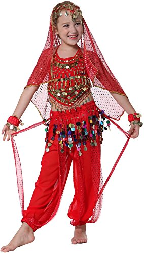 [Seawhisper Kid's Indian Dance Costume Girl Toddler Halloween Costume Red 7 8 9] (Red Indian Costume Girl)