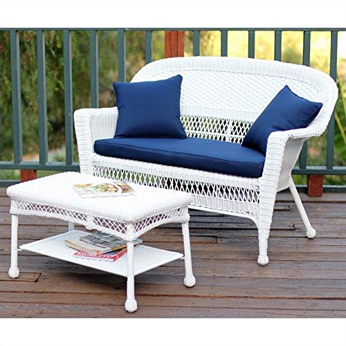 Jeco W00206-LCS011 Wicker Patio Love Seat and Coffee Table Set with Blue Cushion, White (Loveseat Wicker Resin White)