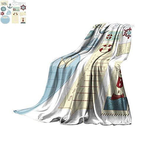 - Angoueleven Soft Blanket Microfiber Scrapbook Sea Elements Throw Blanket 70
