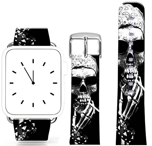 Band for Iwatch 42mm/44mm Series 1/2/3/4 / Topgraph Replacement Leather Strap Compatible for Apple Watch 42mm/44mm Skull Pirate in Kerchief Smoking]()