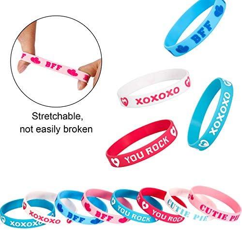 NUOBESTY 24pcs Valentines Day Silicone Bracelet Love Heart Pattern Soft Rubber Wristbands Party Bracelets for Women Men
