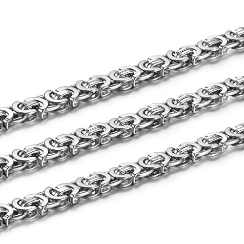 Elfasio 9MM Men's Silver Flat Byzantine Chain Link Stainless Steel Necklace 18