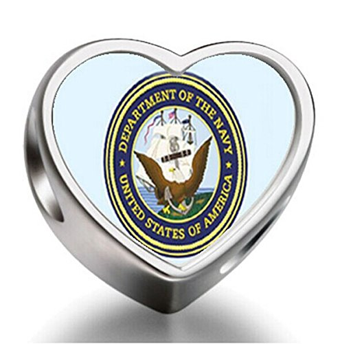 [J.Charm Character Navy Seal Heart Photo Charms Beads bead DIY] (Character Photo Charms)