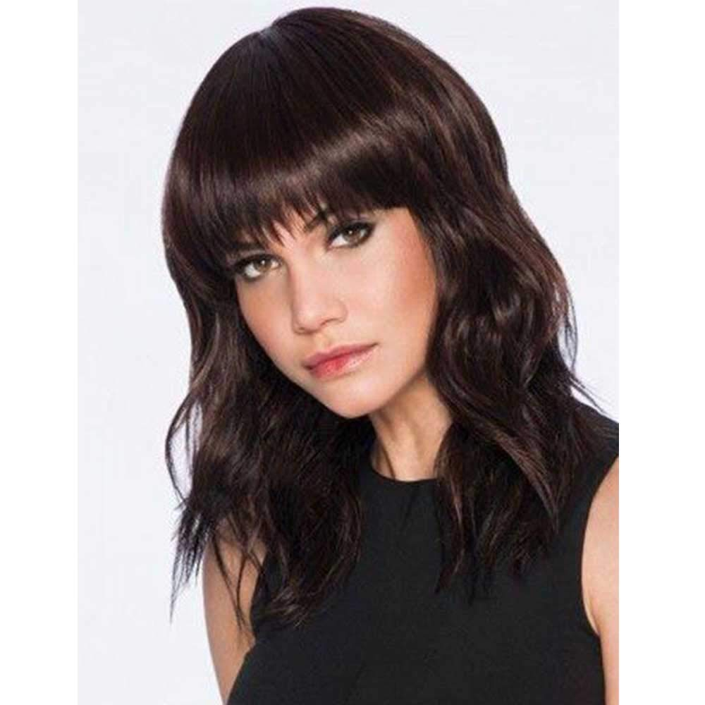 Amazon Com Defei Brown Wavy Wig With Bangs 14 Inches Short Curly Hair Womens Wigs Synthetic Heat Resistant Bob Wigs For Daily Use Beauty