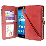 Huawei Ascend XT 2 Case, Huawei Elate 4G LTE Case, Linkertech Premium Leather Flip Zipper Wallet Case Cover with Card Holder and Wrist Strap for Huawei Ascend XT2 H1711 (Zipper Red)