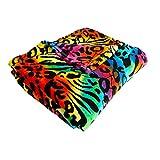 Cozy Fleece Cozy Plush ThrowBlanket, 50 by 60 Inch, Psychadelic Animal