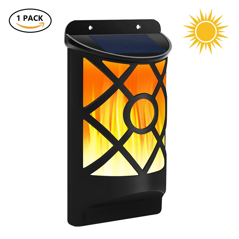 Dr. Prepare Outdoor Solar Wall Light Waterproof Flickering Flames LED Night Light Home Decor with Dark Motion Sensor and Mounting Parts for Patio Driveway Pathway and Backyard