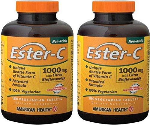 Ester C W/Citrus Bioflavonoids, 1000 mg, 180 veg tablets (2 Pack)
