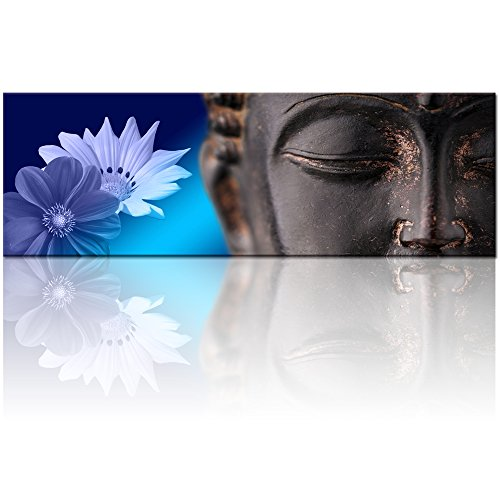 50X150cm Peaceful Buddha Canvas Wall Art,Framed and Stretched,Large Size Merciful Buddha Canvas Print,Water-proof,Classical Buddha Home Wall Art,Office ,Yoga Room Wall Decor (Modern Wall Mirror Art)