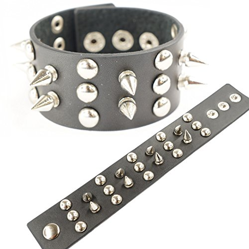 3 Row Stud Spike Rivet - Black Faux Leather Gothic Punk Style Bracelet Wristbands -