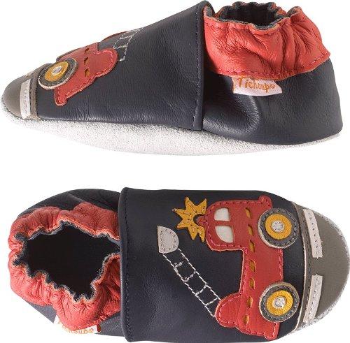 Tichoups chaussons bébé cuir souple xavier le camion de pompier