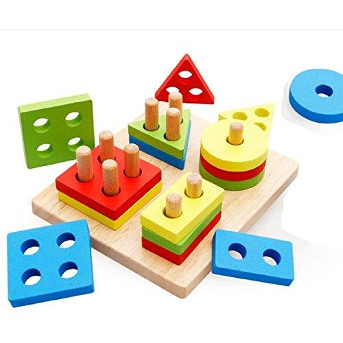 [OVERMAL Early childhood children's educational toys wooden pole geometry shape intelligence] (Four Wheeler Costume)