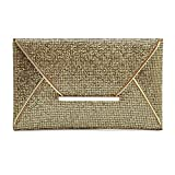 Christine 3 Colors Women Sequin Clutches Handbag, Glitter, Ladies Purse Packet Messenger Bag for Evening Party, Prom, Wedding(Gold)