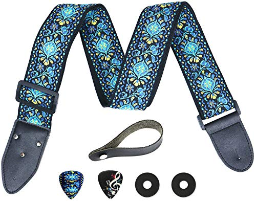- Hootenanny Guitar Strap, Jacquard Weave Embroidered Strap Includes 2 Strap Locks & 2 Unique Picks. Adjustable Woven Guitar Strap, Pick Pocket, For Bass, Electric & Acoustic Guitars