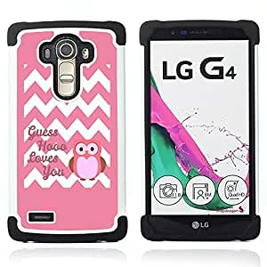 For LG G4 H815 H810 F500L - chevron quote owl pink love you white Dual Layer caso de Shell HUELGA Impacto pata de cabra con im??genes gr??ficas Steam - Funny Shop -