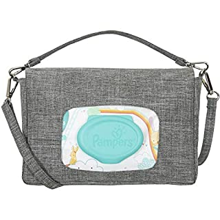 liuliuby Mini Diaper Bag - Crossbody Diaper Bag, Diaper Clutch or Wristlet - Portable Diaper Changing Kit with Wipes Dispenser Pocket (Heather Gray)