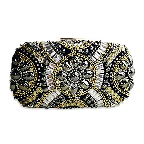 Womens Evening Clutch Bag Designer Evening Handbag,Lady Party Clutch Purse, Great Gift Choice with Gift Box (Black-Beaded small II) (Designer Evening Clutch Bag)