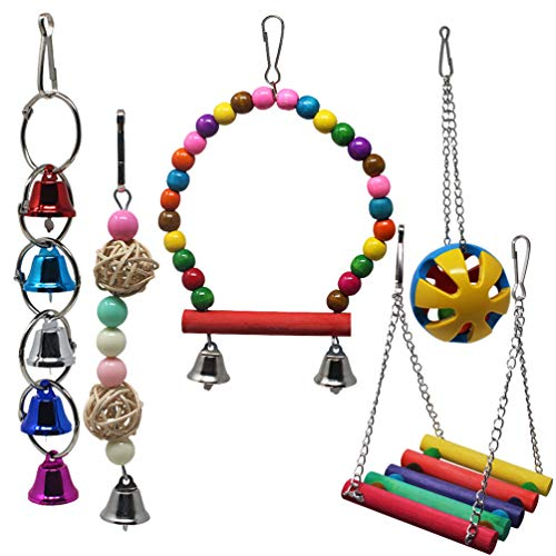 heliltd Bird Chewing Toys, Parrot Bite Toy Bird Cage Accessories Hanging Toy for Small Conures, Parrots, Parakeets Cockatiels (5pcs)