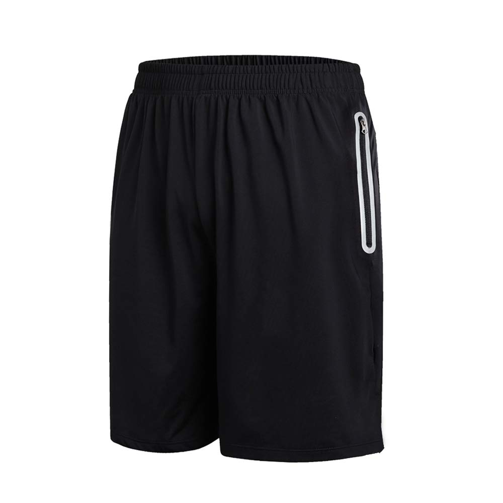 Men Gym Shorts Sports Shorts Lightweight Breathable Running Gym Training Quick Dry Shorts with Zip Pockets (Black, L)