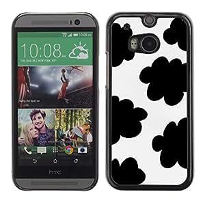 TopCaseStore / la caja del caucho duro de la cubierta de protección de la piel - Spots Black White Clouds Sheep Pattern - HTC One M8