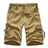 iZHH Men's Outdoors Pocket Work Trouser Cargo Shorts Pants Twelve Colors(Khaki,38)