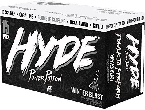 ProSupps HYDE POWER POTION Energy Drink, 350 mg Caffeine, Zero Sugar, Zero Carbs, Carbonated 16 oz, 15-count Box (Winter Blast Flavor) by PRO SUPPS
