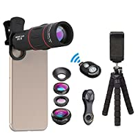 Apexel Phone Photography Kit-Flexible Phone Tripod +Remote Shutter +4 in 1 Lens Kit-High Power 18X Monocular Telephoto Lens, Fisheye, Macro & Wide Angle Lens for iPhone X 8 7 6 Plus Samsung Smartphone(4 in 1 Lens Kit)