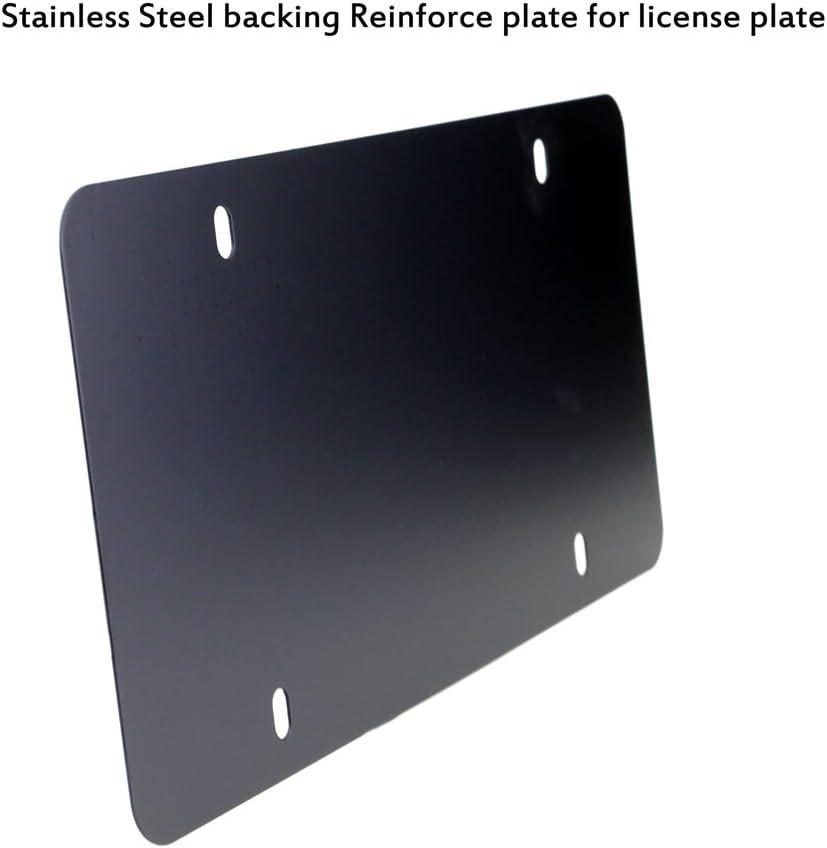 Black LFPartS Stainless Steel License Plate Frame and Backing Reinforce Holder//Bracket