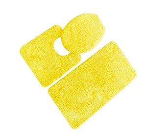5th Avenue 3 Piece Bathroom Rug Set   Bath Mat, Contour, Cover (Yellow)