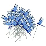 MagiDeal 50x Garden Yard Planter Colorful Whimsical Butterfly Stakes OR Red/Blue/Green/Yellow Dragonfly Stakes Bonsai Flower Bed Pot Decorations - Dragonfly Blue, as described