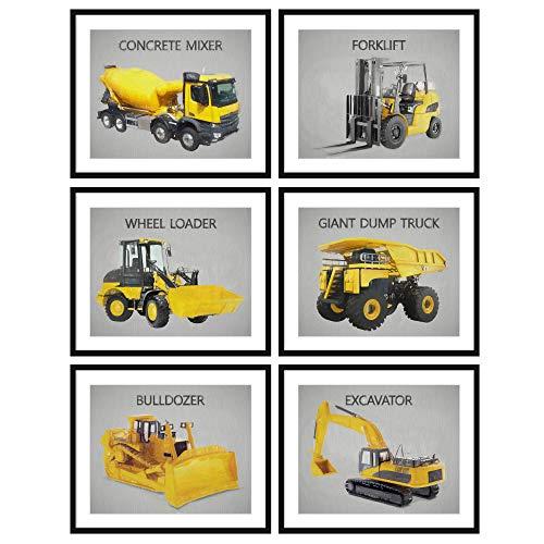 Bestbuddy Pet Set of 6 (8X10) Unframed Boys Trucks Art Print Set Concrete Mixer Forklift Wheel Loader Dump Truck Bulldozer Excavator Construction Wall Decor N032