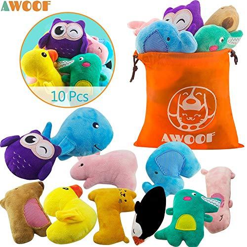 AWOOF 10 Pack Hundespielzeug Welpenspielzeug Hund Quietschspielzeug, Welpen Zahnen Spielzeug, Haustier Hund Plüsch…