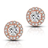 Halo CZ Stud Earrings – 18k Gold Plated Stunning Cubic Zirconia Sparkle Earrings For Women Girls.