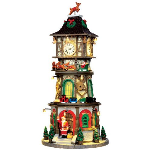 Lemax Village Collection Christmas Clock Tower with Adaptor # 45735 (Christmas Collection Village)