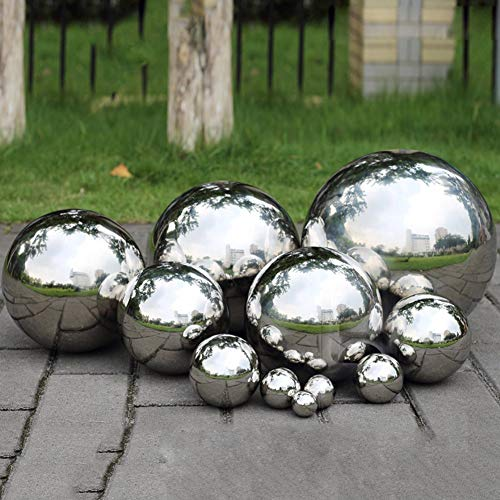 Yunhigh Bola de Espejo de Bola de Acero Inoxidable Esfera Bola de Metal Decorativa Mesa de Bola de Oro Ornamento de jardin de hogar, 8 cm