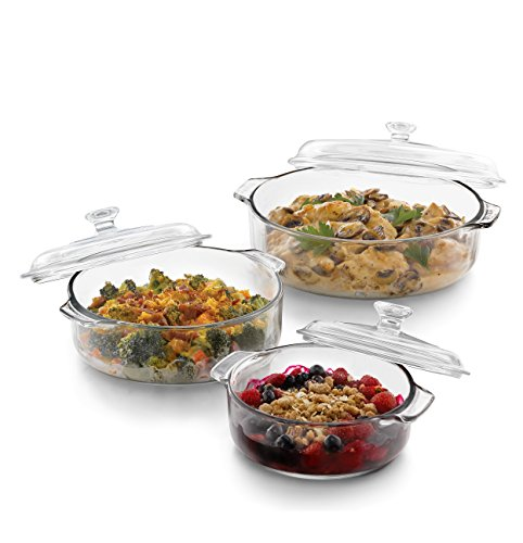 Libbey Baker's Basics 3-piece Glass Bake Set with 3 Covers by Libbey
