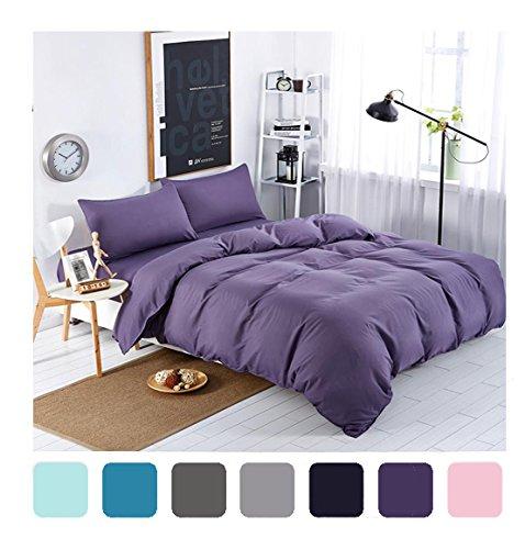 MIFE TEXTILE 4-Piece Purple Bedding Sets Solid Color