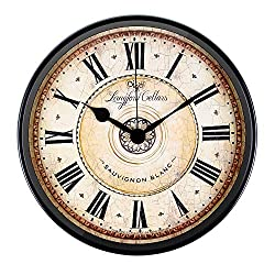 Justup Wall Clock, 12 inch Metal Black Wall Clock European Style Retro Vintage Clock Non - Ticking Whisper Quiet Battery Operated with HD Glass Easy to Read for Indoor Decor (Black 12')